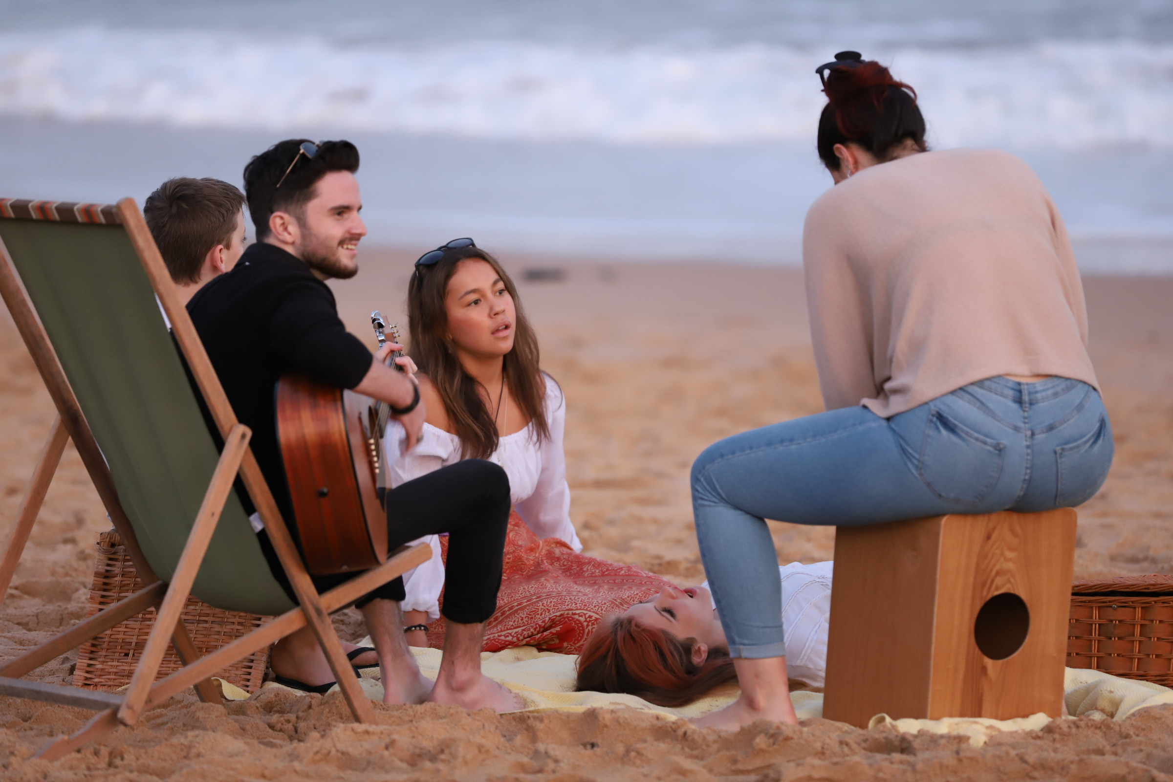 Playing Music on Beach